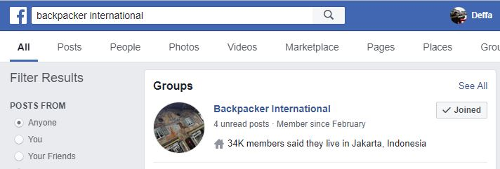 Facebook Group Backpacker International