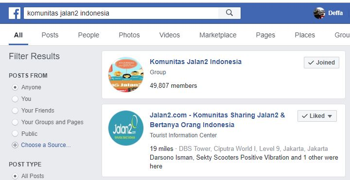 Facebook Group Komunitas Jalan2 Indonesia